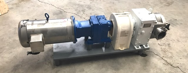 used Fristam Model FKL50 rotary lobe pump. 2.5